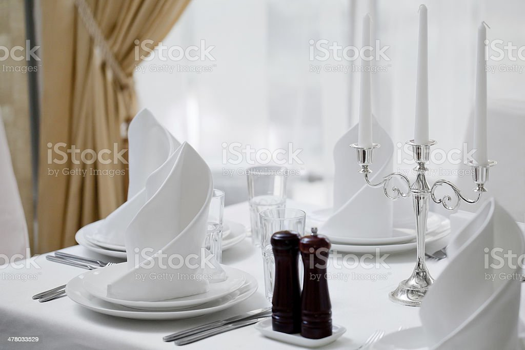 Empty glasses set in restaurant royalty-free stock photo