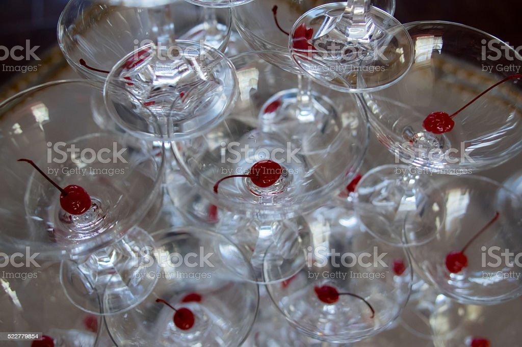 Empty glasses with cherries stock photo