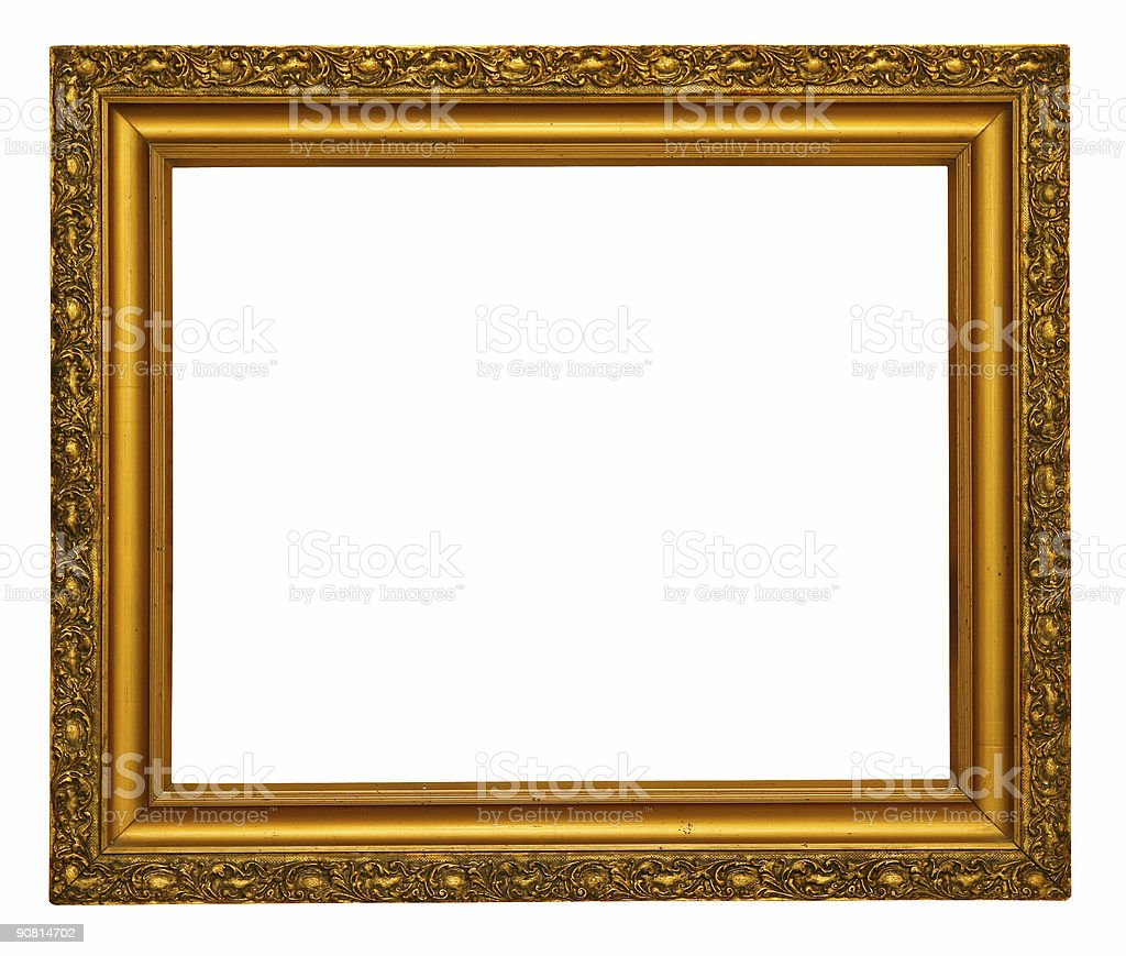 Empty gold frame - with clipping path royalty-free stock photo