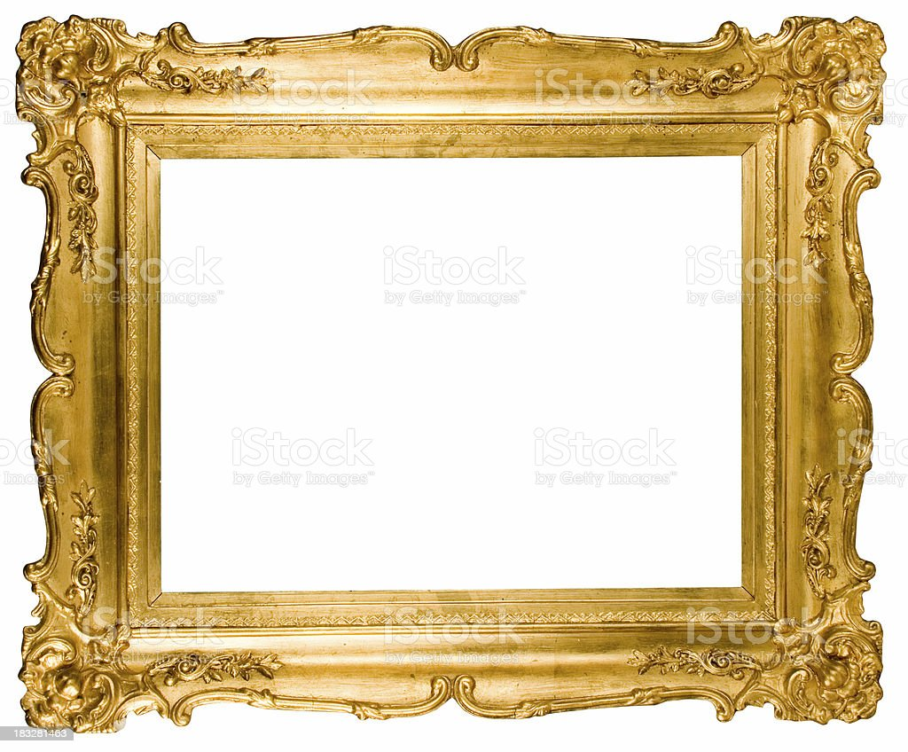 Empty Golden Frame stock photo