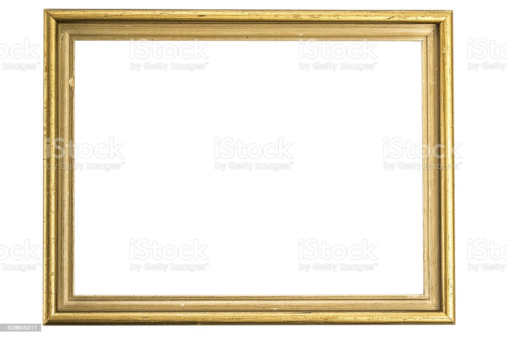 Empty golden frame stock photo