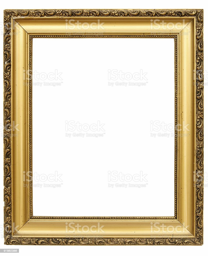 Empty golden frame [with clipping paths] royalty-free stock photo