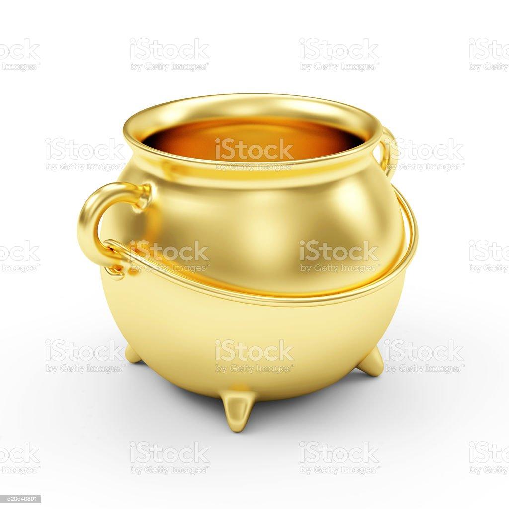 Empty Golden Pot isolated on white background stock photo
