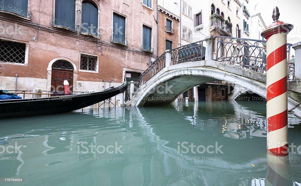 empty gondola in Venice Italy royalty-free stock photo