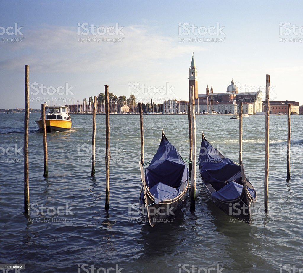 Empty gondolas in San Marco, Venice royalty-free stock photo
