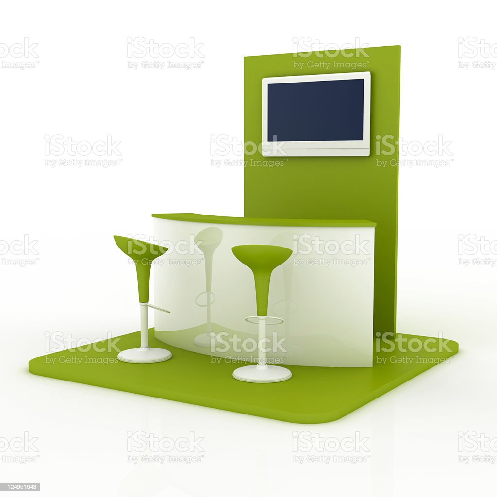 Empty green and white bar with blank screen stock photo