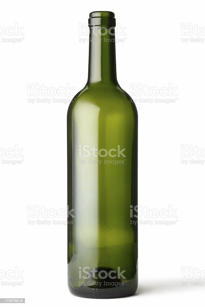 Empty green glass bottle stock photo