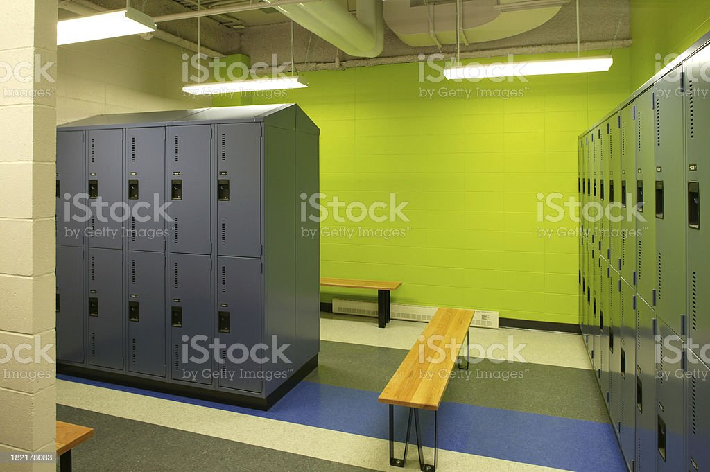 empty green gym locker room stock photo