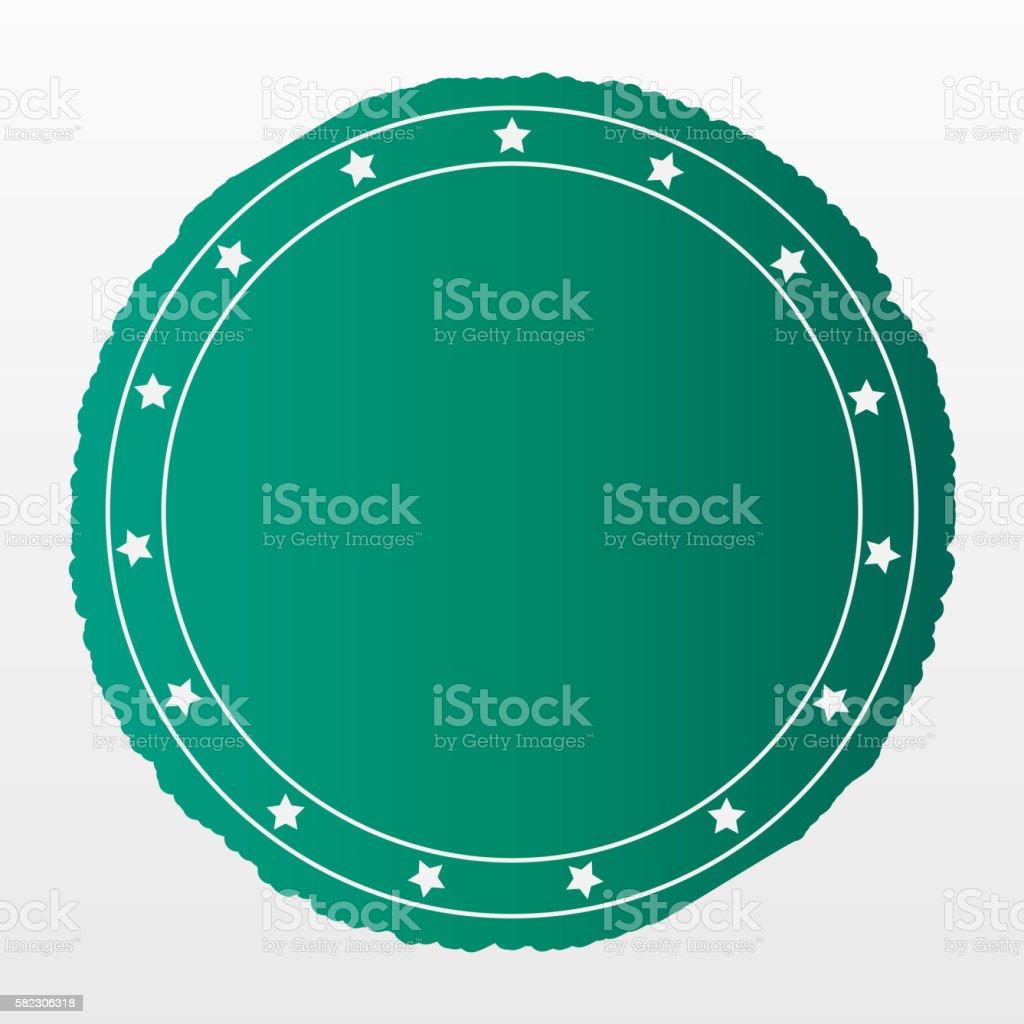 Empty green matte badge stock photo