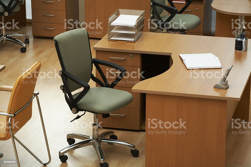 Empty green office chair in a modern office royalty-free stock photo