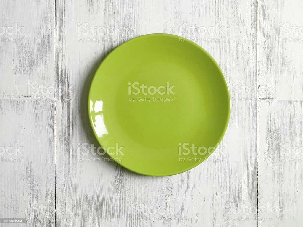 empty green plate stock photo