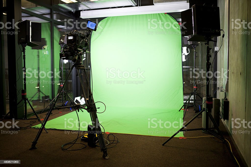 Empty Green Screen Film Set stock photo