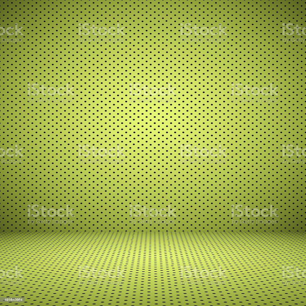 Empty Green Studio well use as background with Polka Dot. stock photo