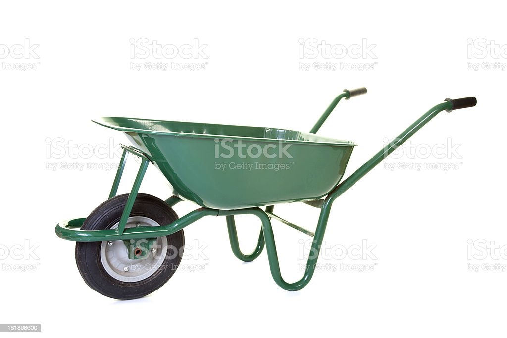 empty green Wheelbarrow stock photo