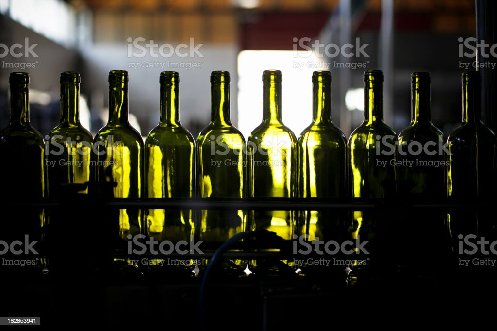 Empty green wine bottles lined up in bottling plant royalty-free stock photo