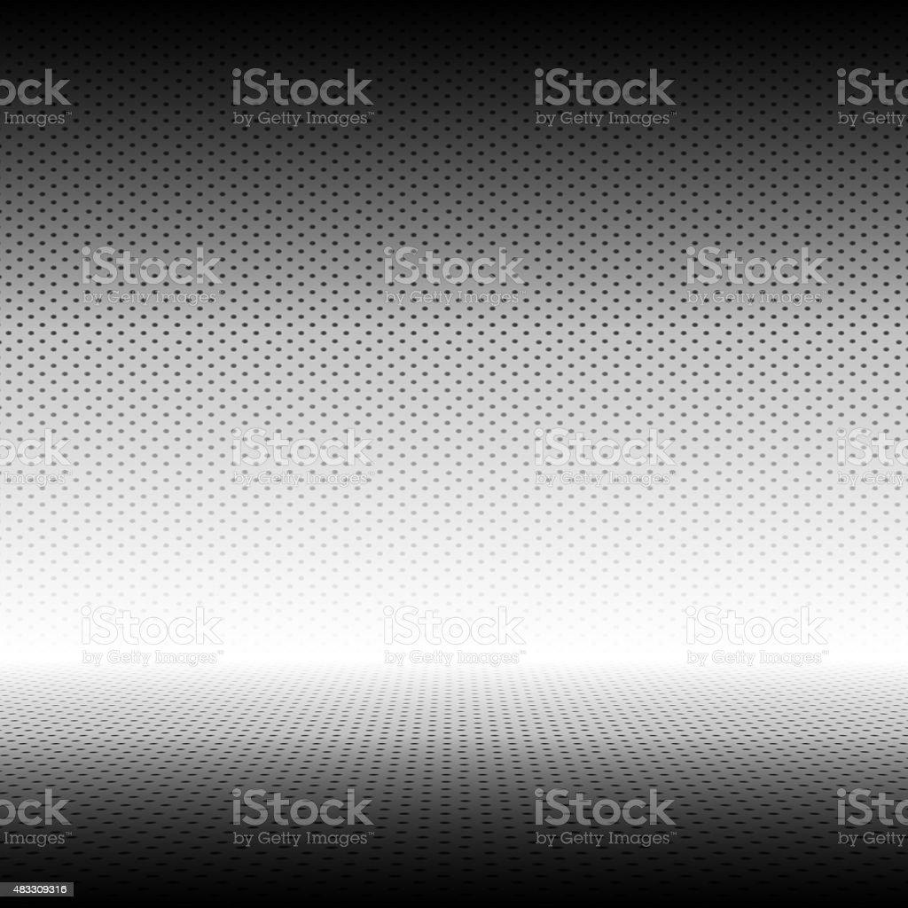 Empty Grey with Black Polka dots  Studio well use stock photo