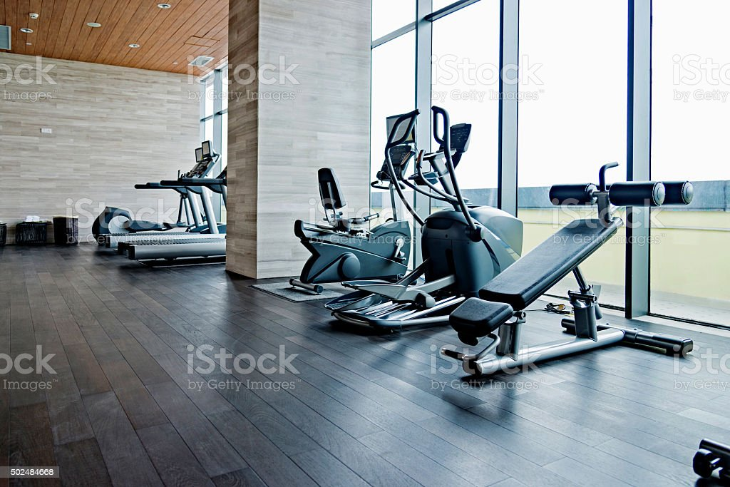 Empty gym room stock photo