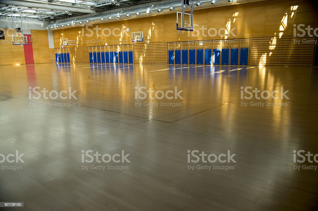 Empty Gymnasium Sports Centre Hall in Morning Sun stock photo