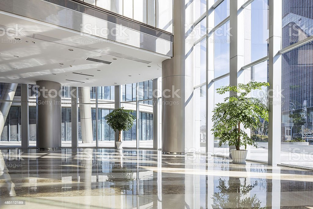 empty hall in the modern office building. stock photo