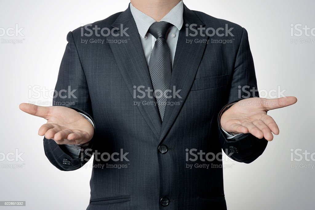 Empty hand of businessman stock photo