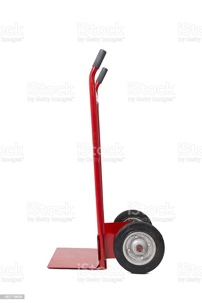 Empty hand truck isolated on white stock photo