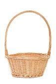 Empty handmade wicker basket on white background