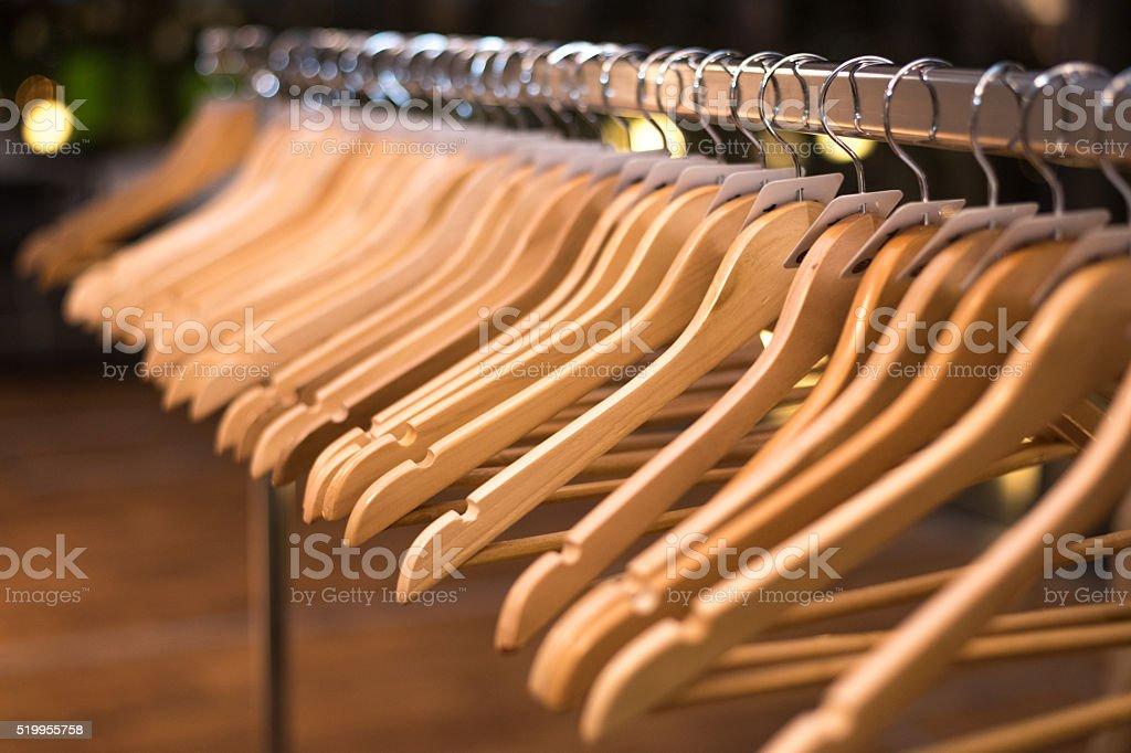 Empty hangers stock photo