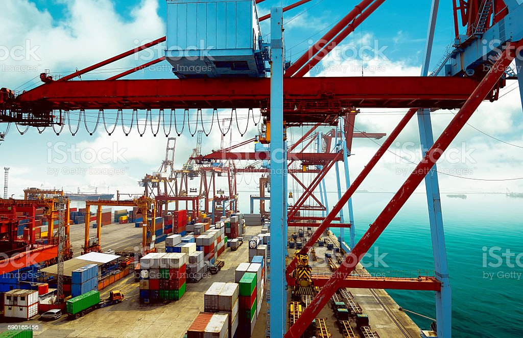 Empty harbor with container and crane background stock photo