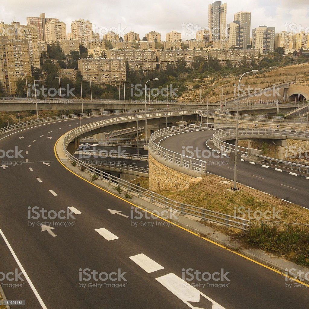Empty highway and buildings royalty-free stock photo