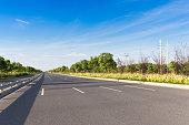 empty highway in blue sky