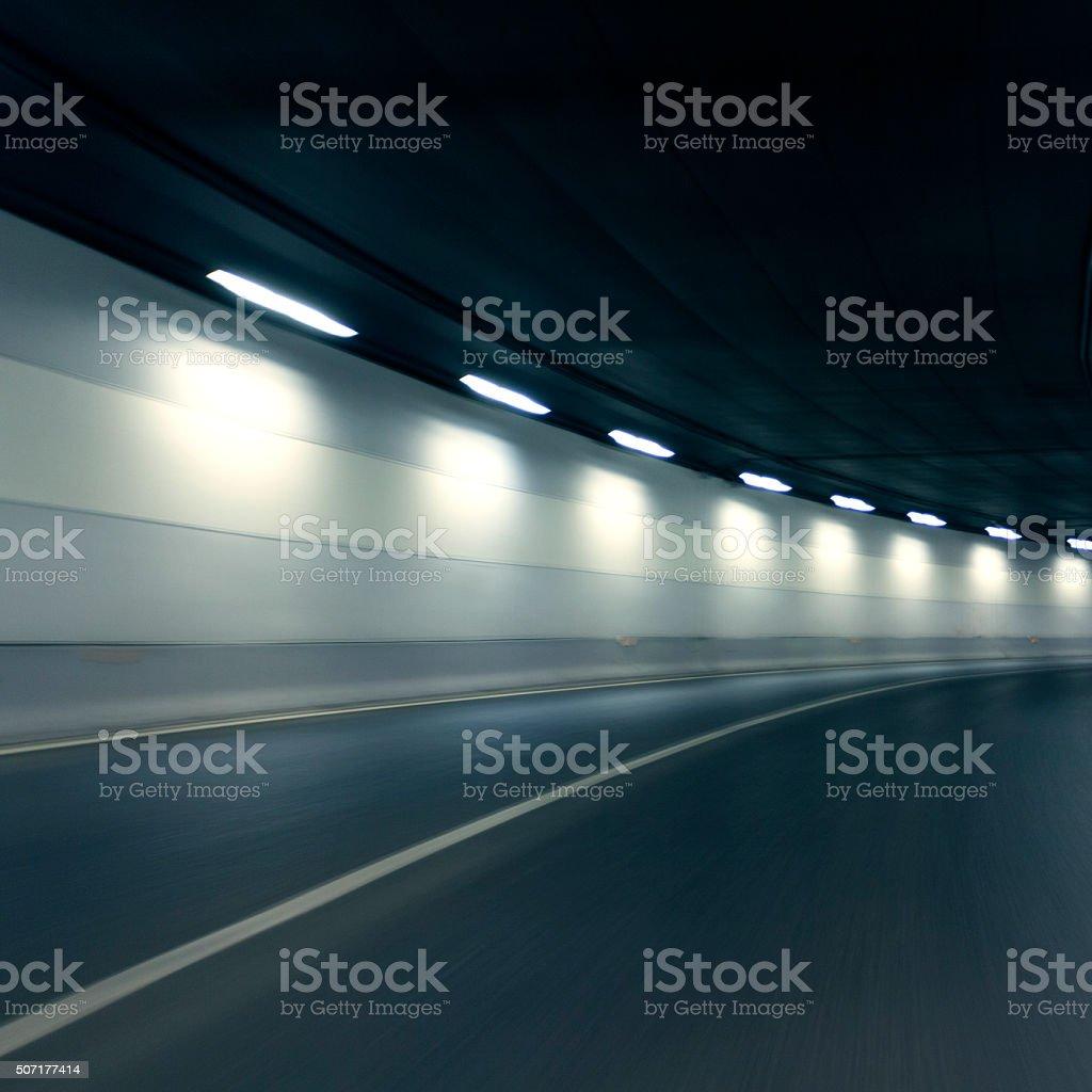 Empty highway tunnel stock photo