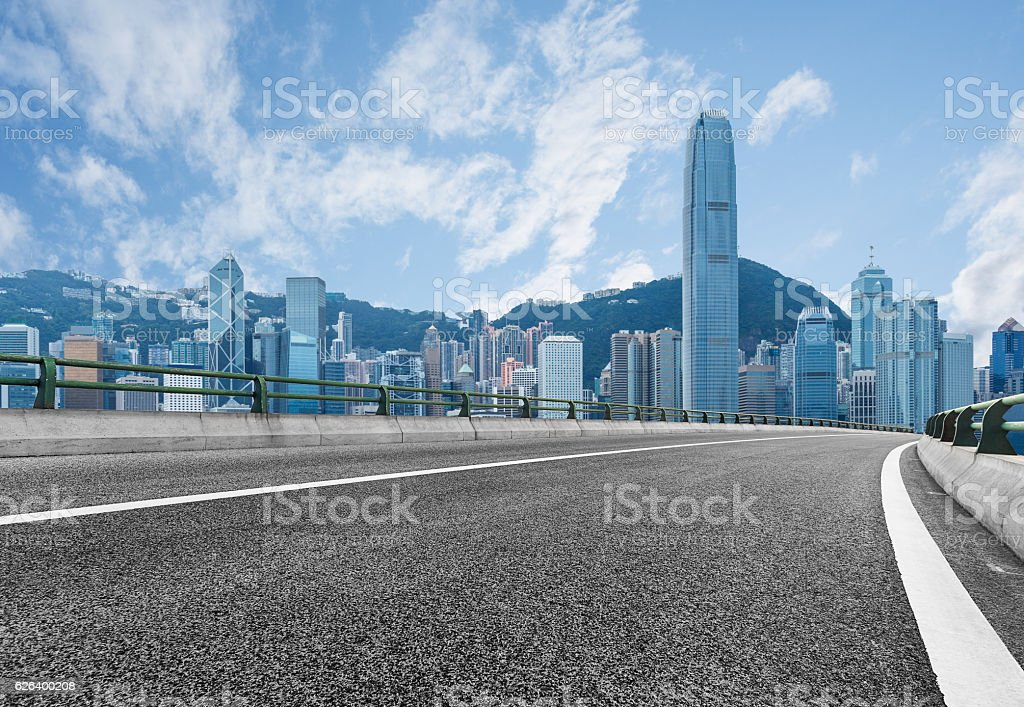 empty highway with cityscape and skyline of Hong Kong stock photo