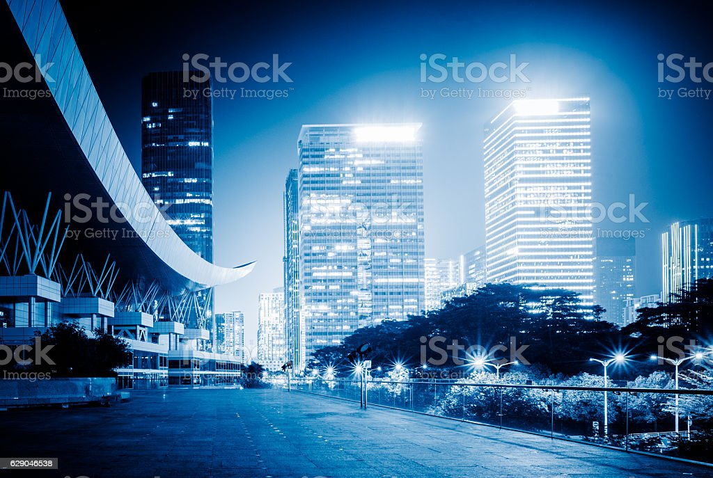 empty highway with cityscape and skyline stock photo