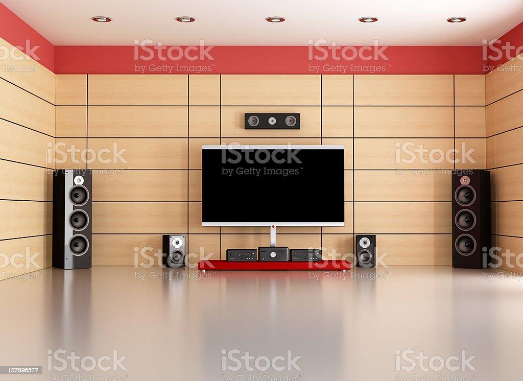 empty home cinema room stock photo