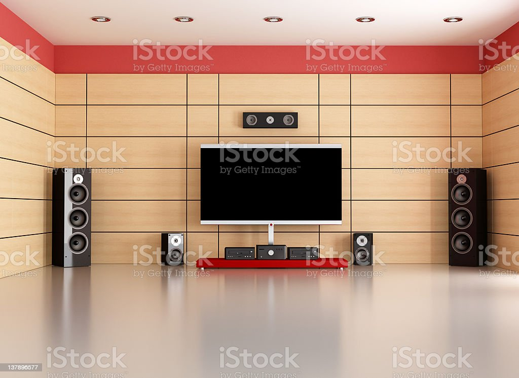 empty home cinema room stock photo