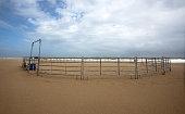 Empty Horse Corral on Beach