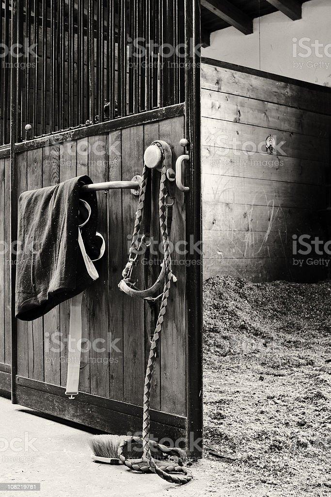 Empty Horses Stable, Sepia Toned royalty-free stock photo