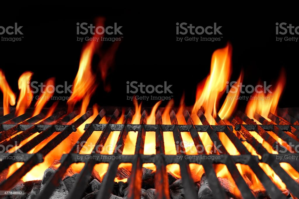 Empty Hot Flaming Charcoal Barbecue Grill stock photo