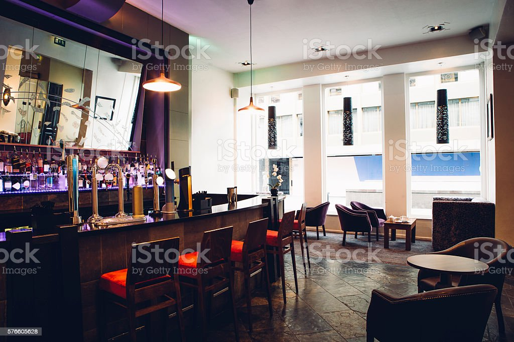 Full room shot of an empty bar.
