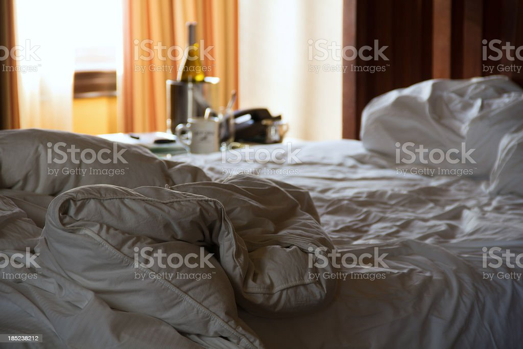 Empty Hotel Bed royalty-free stock photo