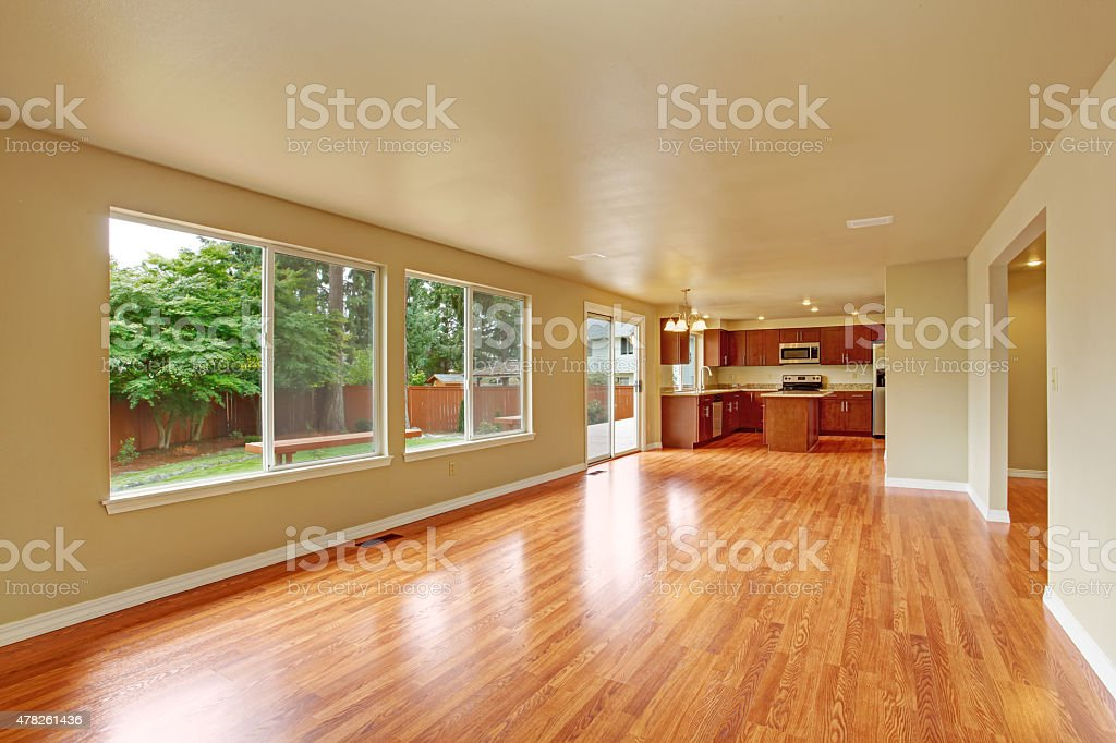 Empty house interior with new hardwood floor stock photo