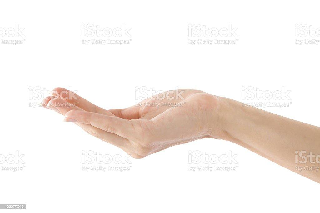 Empty Human Hand (Beauty Woman hand) royalty-free stock photo