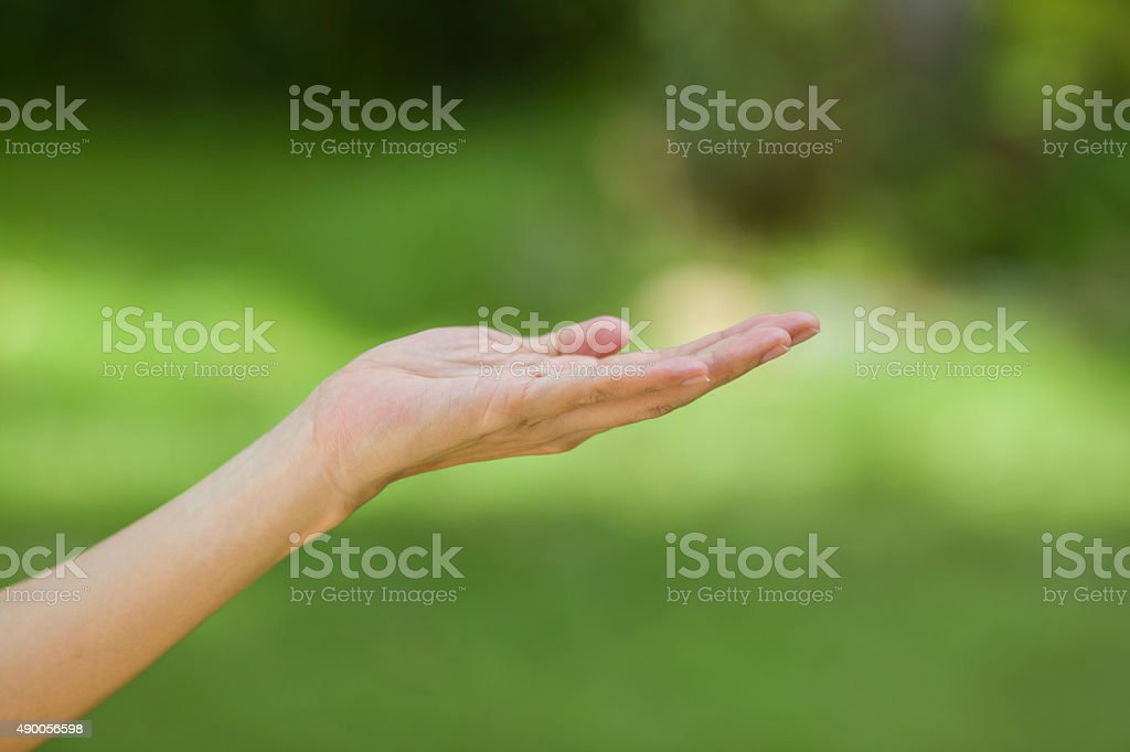 empty human hand with bokeh background stock photo