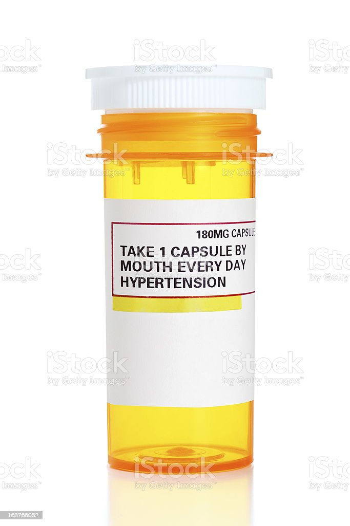 Empty Hypertension Medication Bottle stock photo