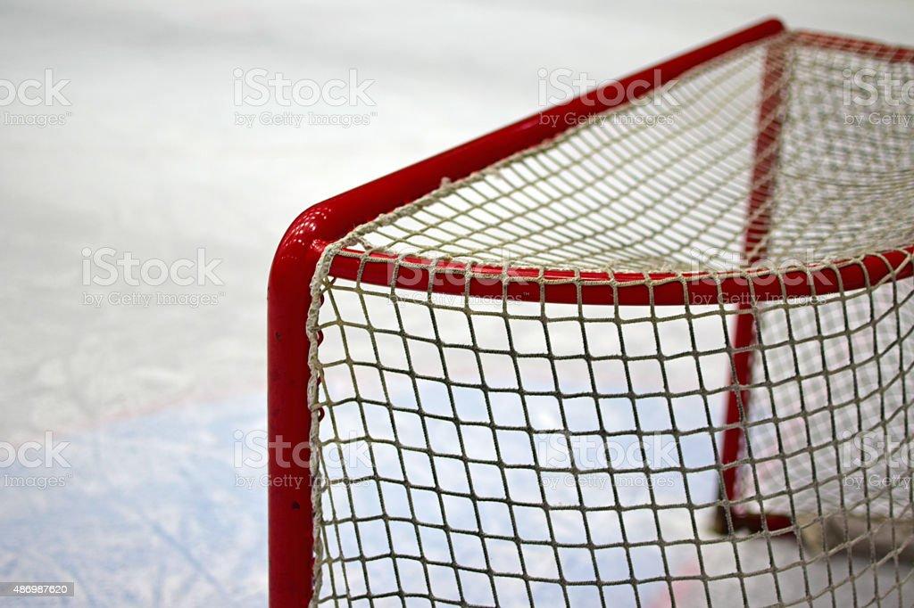 Empty Ice hockey net stock photo