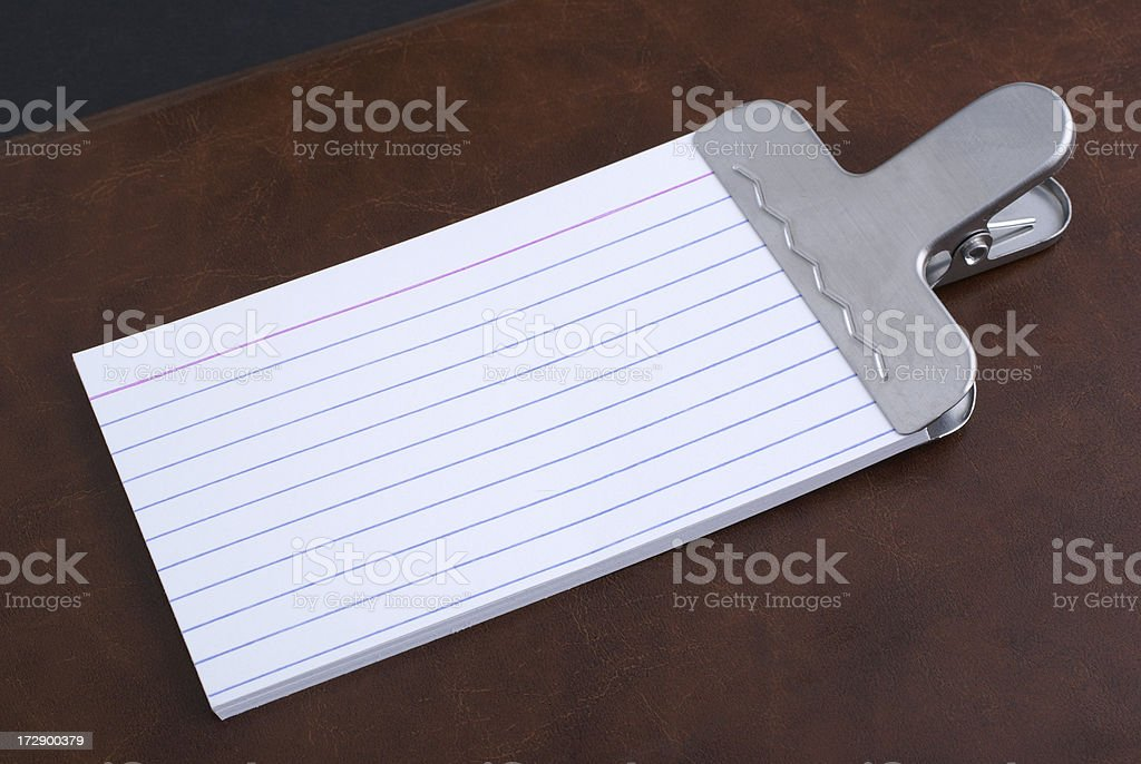 empty index cards and metal clip royalty-free stock photo