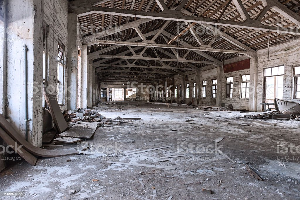 Empty industrial loft in an architectural background stock photo