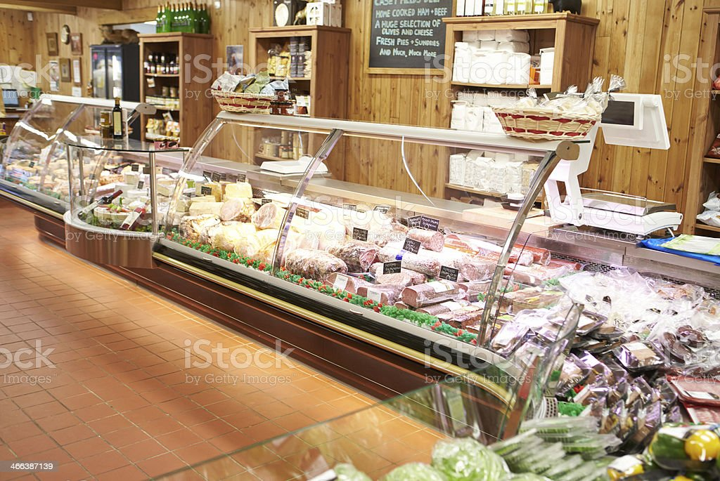 Empty Interior Of Delicatessen stock photo