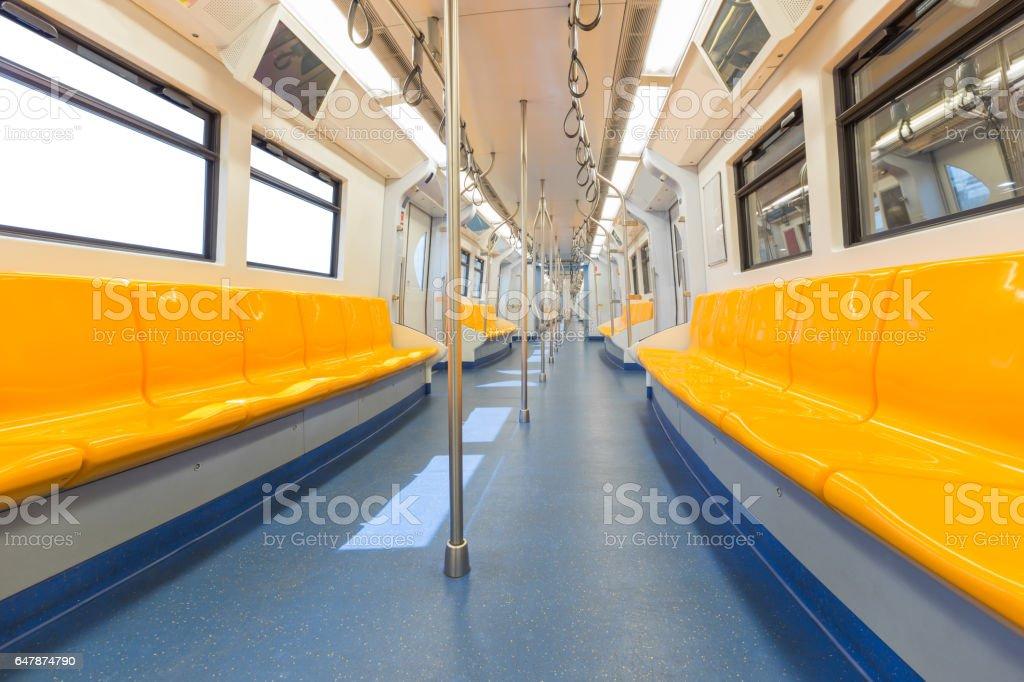 Empty interior of electric train cabin stock photo