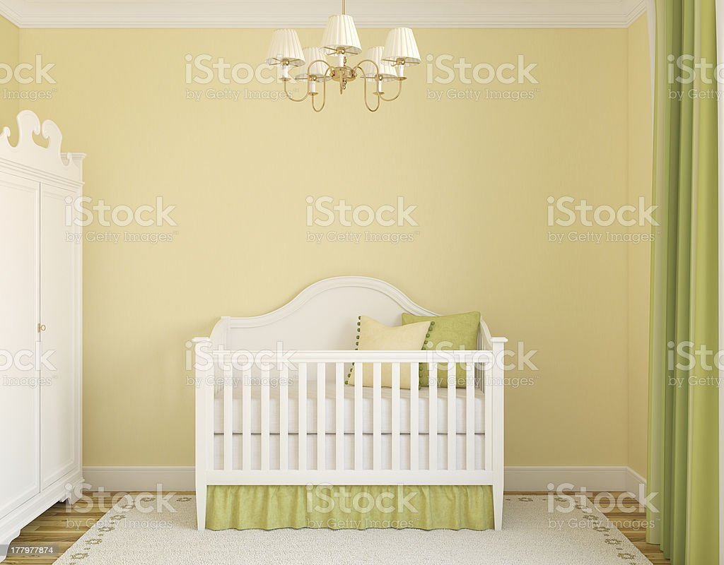 Empty interior of green and yellow nursery royalty-free stock photo